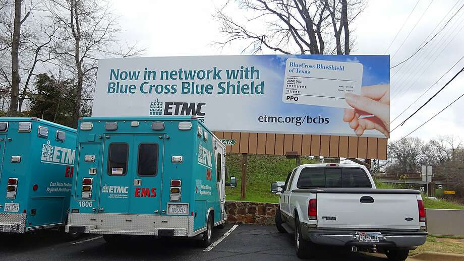 FILE - An undated photograph of a Blue Cross Blue Shield billboard in Tyler, Texas. Monday, the insurance company began a new policy of not paying the expenses for out-of-network emergency room visits if it is determined that patients could have gone elsewhere for treatment. Photo: Jenny Deam, Houston Chronicle