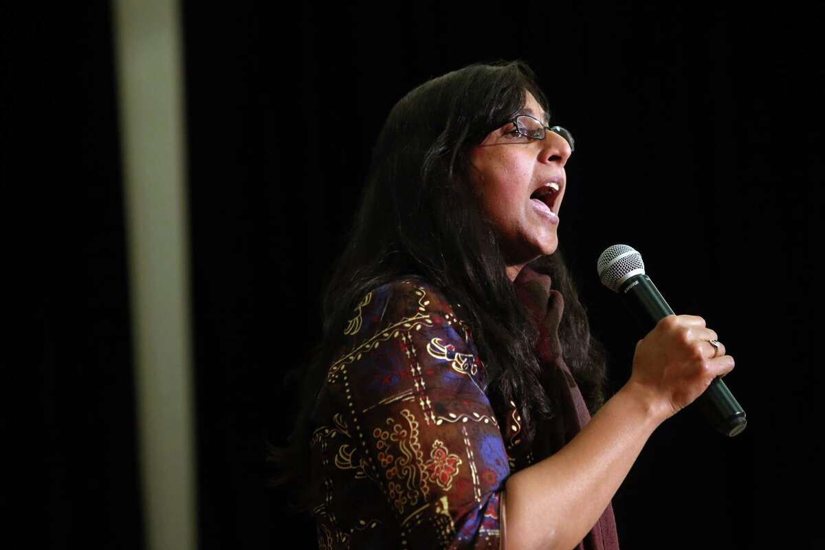 Seattle City Council member Kshama Sawant speaks to many demonstrations. She is up for reelection this year, and is vulnerable. Sawant took only 37 percent of the vote in September's primary.