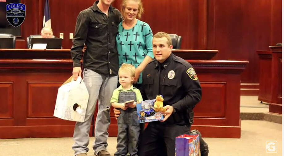 Officer Chase Miller of the Granbury Police Department performed CPR on a 3-year-old boy who was not breathing, saving the child's life, Oct. 12, 2016. The family had been at a local restaurant when the boy became unresponsive. (Granbury media via YouTube) Photo: Granbury Media