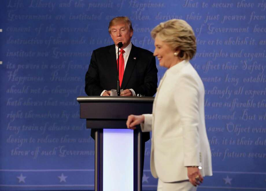 "3) After Clinton attacked his treatment of women at an Oct. 19 debate: ""Nobody has more respect for women than I do. Nobody."" Photo: David Goldman, Associated Press / Copyright 2016 The Associated Press. All rights reserved."