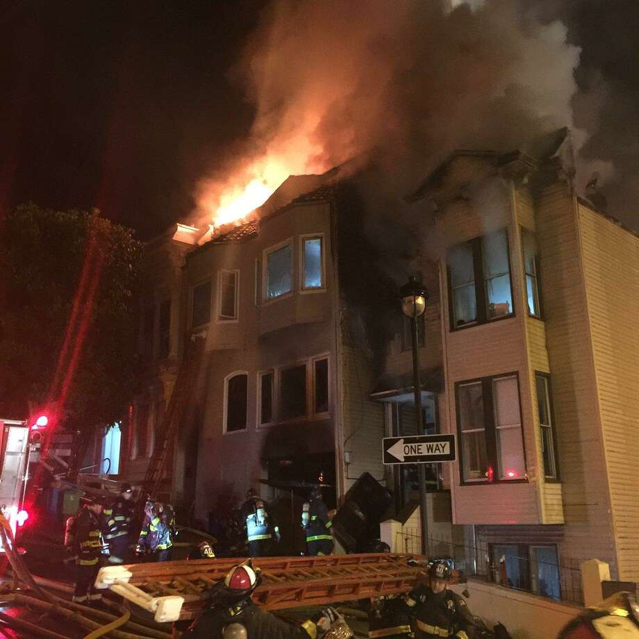 Three firefighters were injured battling a blaze that damaged three homes in San Francisco's Castro District early Thursday. Photo: San Francisco Fire Department / /