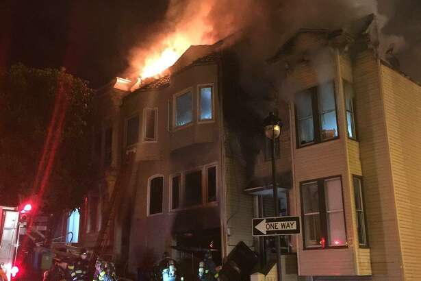 Three firefighters were injured battling a blaze that damaged three homes in San Francisco's Castro District early Thursday.