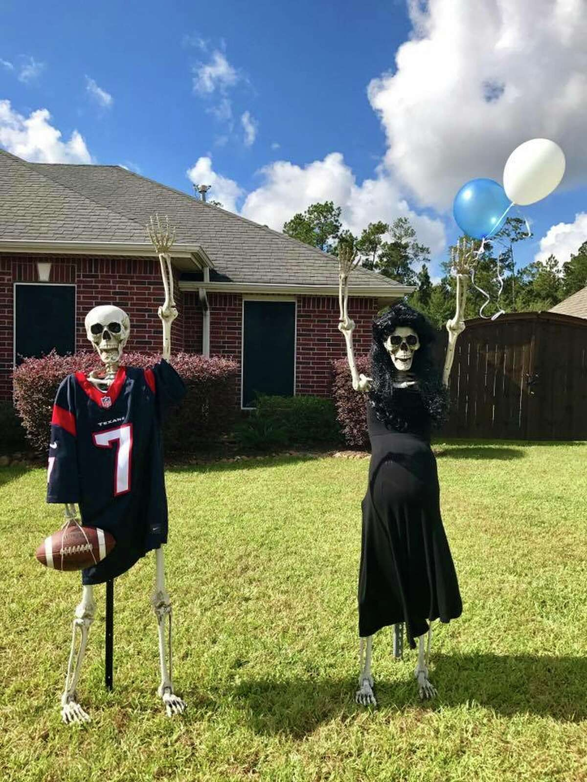 The 'Keeping Up With The Bones' Facebook page tracks goings on of the Bonses, a skeleton family created by Lumberton resident Amy B. Moses. Each day, Moses changes the display to show the family doing different things, like yoga poses, playing Twister and starting a family of their own.