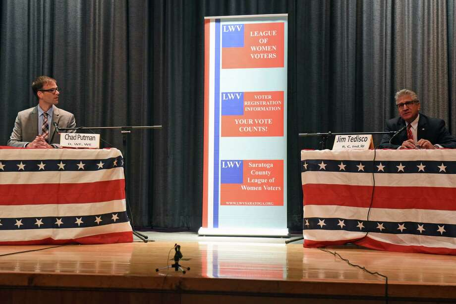 49th Senate District candidates, Chad Putman and Assemblyman Jim Tedisco take part in a debate at Burnt Hills Ballston Lake Senior High School on Wednesday Oct. 19, 2016 in Burnt Hills , N.Y.  (Michael P. Farrell/Times Union) Photo: Michael P. Farrell / 20038468A