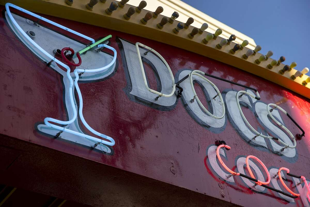 The Doc's Clock sign features neon lights, something not permitted to new commercial signs in San Francisco today.