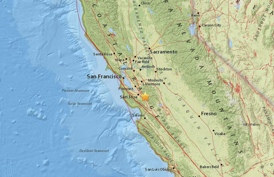 A magnitude 2.5 earthquake struck about 9 miles north of Morgan Hill, California at 7:35 am on October 20, 2016. Photo: USGS