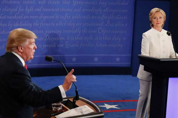 Democratic nominee Hillary Clinton and Republican nominee Donald Trump during the final presidential debate at the Thomas & Mack Center on the campus of the University of Las Vegas in Las Vegas, Nevada on Wednesday.