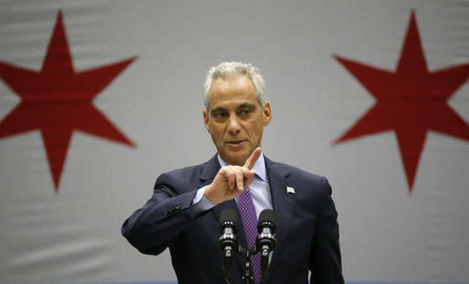 Chicago Mayor Rahm Emanuel delivers his new public safety plan to combat gun violence for the nation's third-largest city at the Malcolm X Community College Thursday, Sept. 22, 2016, in Chicago. (AP Photo/Charles Rex Arbogast)