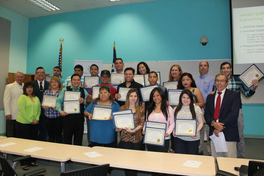 The first-ever International Trade Certificates were awarded to Laredo Community College students during a ceremony on Thursday, May 7 in the De La Garza Building, room 101. The certificates are the result of a collaborative effort between LCC's Economic Development Center and the Business Department. Students earned their certificates after completing an innovative, semester-long online module which allowed them to garner the knowledge and skills necessary to thrive within the import and export trade industry. Logistics and Distribution Management Program students are joined by LCC Business Department Chair George E. Macdonald (far left, second row), LCC Economic Development Center Director Rodney H. Rodriguez (left, second row), Assistant Dean of Workforce Education Roxanne Vedia (far left, front) and Import and Export Instructor Mario Tello (far right, front).