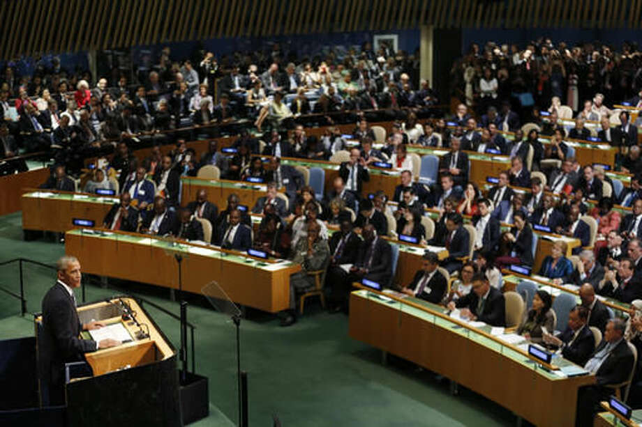 United States President Barack Obama speaks during the 71st session of the United Nations General Assembly at U.N. headquarters, Tuesday, Sept. 20, 2016. (AP Photo/Seth Wenig)