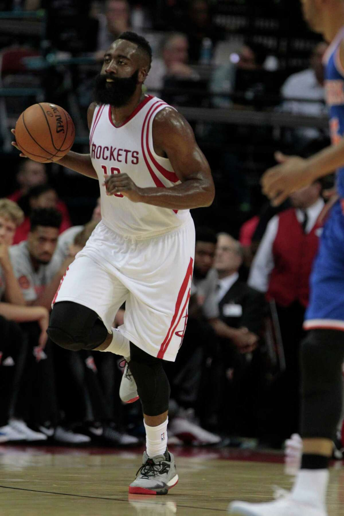 Houston Rockets guard James Harden (13) drives the ball up court against New York Knicks at the Toyota Center on Tuesday, Oct. 4, 2016, in Houston. ( Elizabeth Conley / Houston Chronicle )