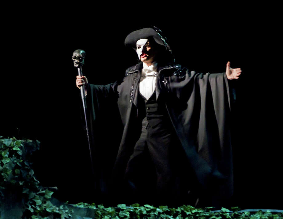 "Hugh Panaro, as the Phantom, during a scene of the musical ""The Phantom of the Opera"" at the Majestic Theater in New York, Feb. 7, 2012."