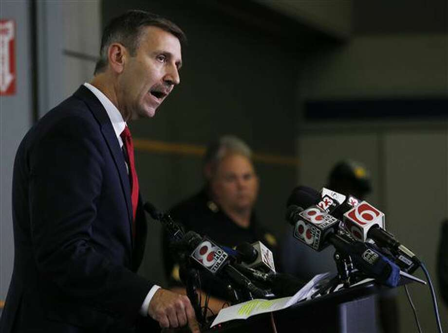 Steve Kunzweiler, Tulsa County District Attorney, speaks during a Tulsa Police Department news conference at the Tulsa Police Comp Stat building on Monday, Sept. 19, 2016. (Tom Gilbert/Tulsa World via AP)