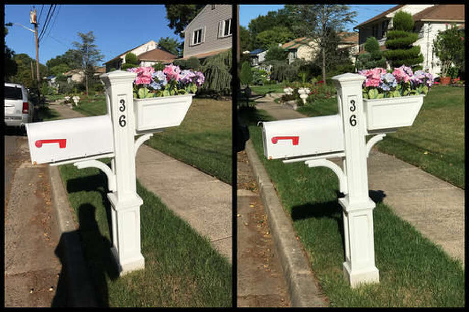 This Monday, Sept. 12, 2016, photo combo shows pictures taken with the iPhone 7 Plus, using the smartphone's regular lens, left, and its 2x zoom lens, right, in Edison, N.J. At right, the photographer's shadow is able to be eliminated by standing further back and zooming in on the mailbox. While smartphone cameras have long offered zooming, these are typically done with software tricks, so image quality suffers. The iPhone 7 Plus has a second lens devoted to offering two-fold zoom without any image degradation. (AP Photo/Anick Jesdanun)