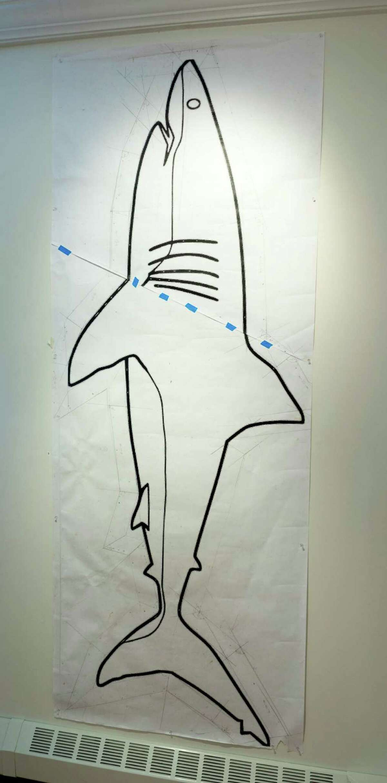Gordon Oatman, Study for Great White Shark (penicl, xerography, & tape) 2016