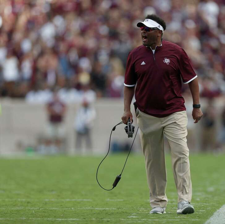 Texas A&M Aggies head coach  Kevin Sumlin reacts during the second quarter of a college football game at Kyle Field, Saturday, Oct. 8, 2016 in College Station.  ( Karen Warren / Houston Chronicle )
