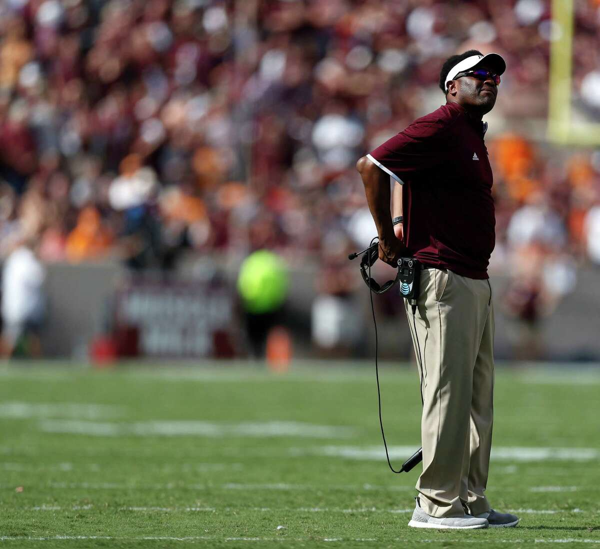Texas A&M Aggies head coach Kevin Sumlin on the field during the first quarter of a college football game at Kyle Field, Saturday, Oct. 8, 2016 in College Station. ( Karen Warren / Houston Chronicle )