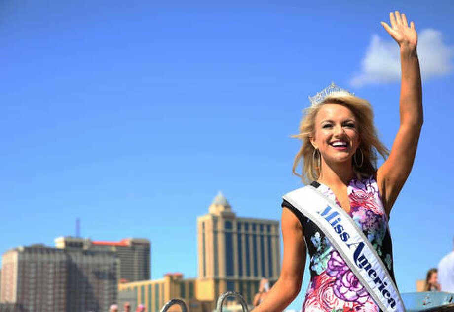 Miss America 2017, Savvy Shields, poses for the media during the traditional toe dip, in Atlantic City, NJ, Monday, Sept. 12, 2016. (Viviana Pernot/The Press of Atlantic City via AP)