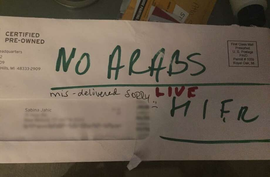 "A letter addressed to Sabina Jahic after it made its way to her home with ""NO ARABS "" written on it. Photo: Contributed Photo"