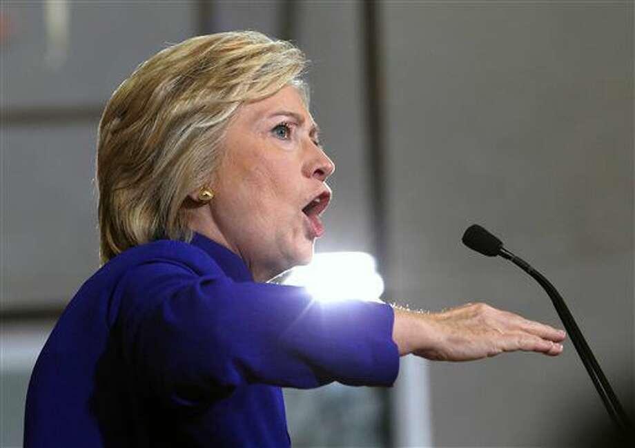 Democratic presidential candidate Hillary Clinton speaks during a campaign stop in Orlando, Fla., Wednesday, Sept. 21, 2016. (Joe Burbank/Orlando Sentinel via AP)