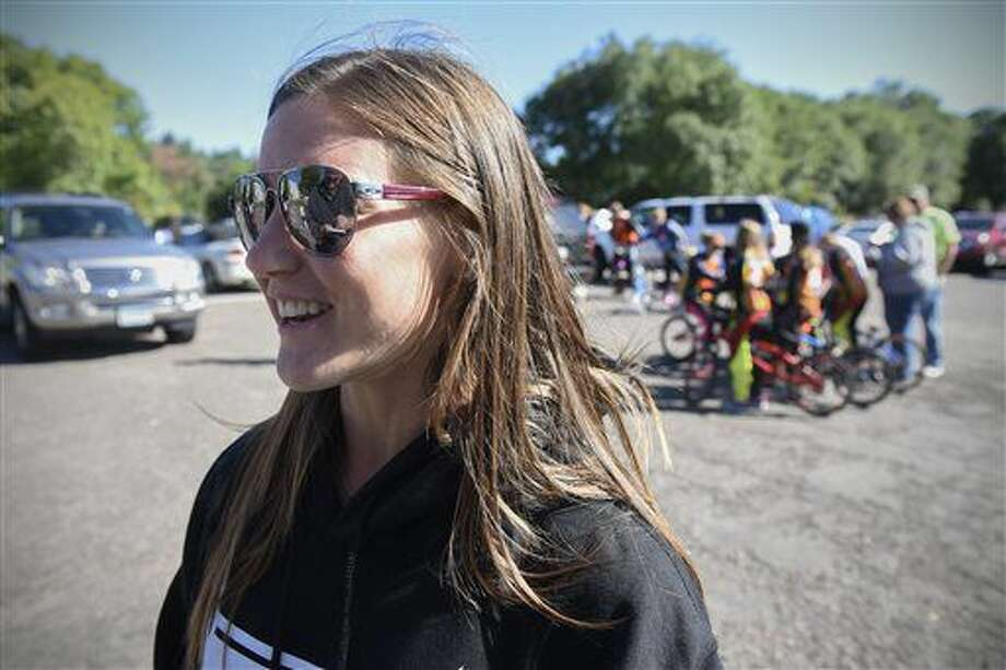 Olympic silver medalist Alise Post talks about her future plans following a parade held in her honor Saturday, Sept. 10, 2016, in downtown St. Cloud, Minn. (St. Cloud Times/Dave Schwarz via AP)
