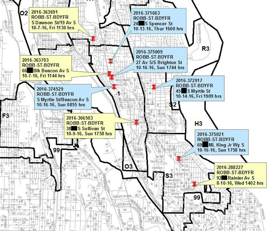 Seattle police are investigating a series of street robberies in and around Beacon Hill. The dates and locations of the robberies are noted in the map. Photo: Seattle Police Department
