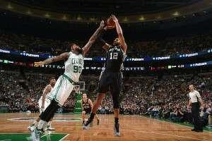 BOSTON, MA – NOVEMBER 1: LaMarcus Aldridge shoots the ball against the Boston Celtics during the game on Nov. 1, 2015 at the TD Garden in Boston, Massachusetts.