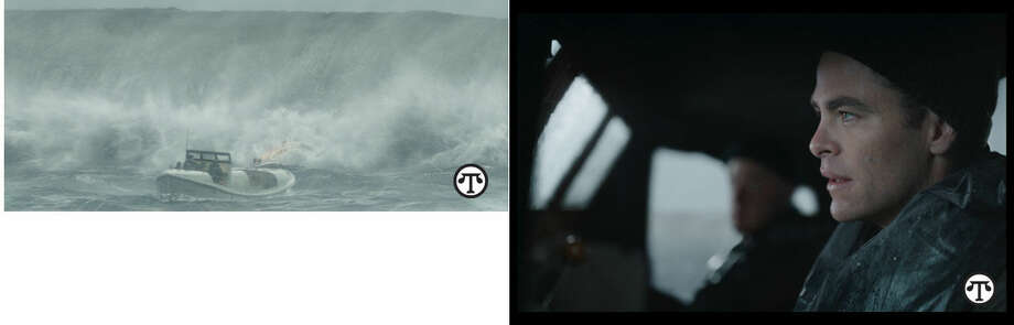 """The CG36500 lifeboat and crew battling the storm on the most daring rescue mission in the history of the U.S. Coast Guard. It inspired Disney's heroic action thriller """"The Finest Hours."""" Chris Pine is Bernie Webber in Disney's """"The Finest Hours."""" (NAPS)"""