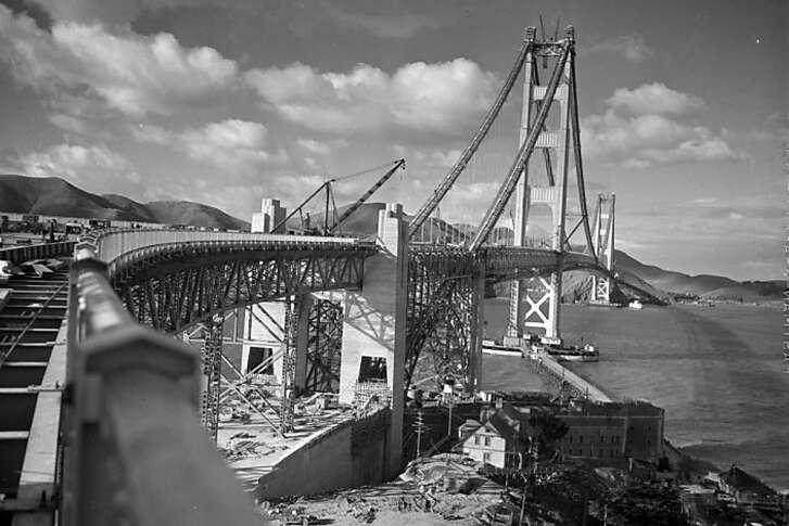 Construction of the Golden Gate Bridge in 1937.