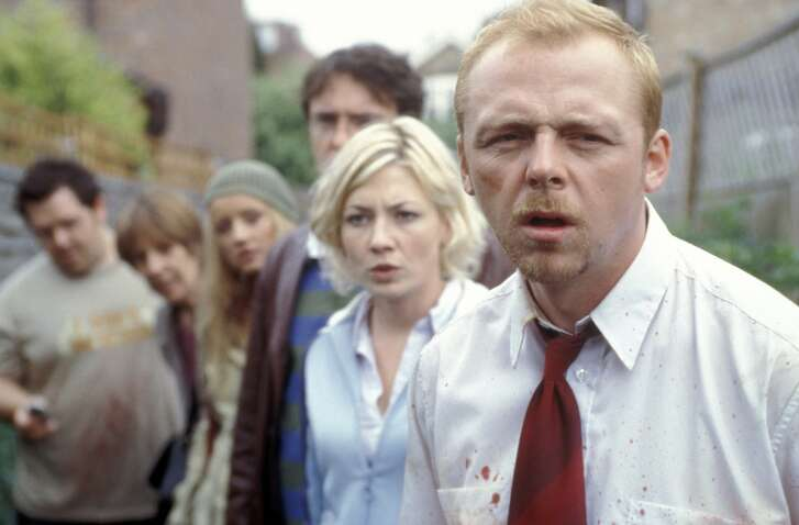 "Zombies invade London in the film ""Shaun of the Dead"""
