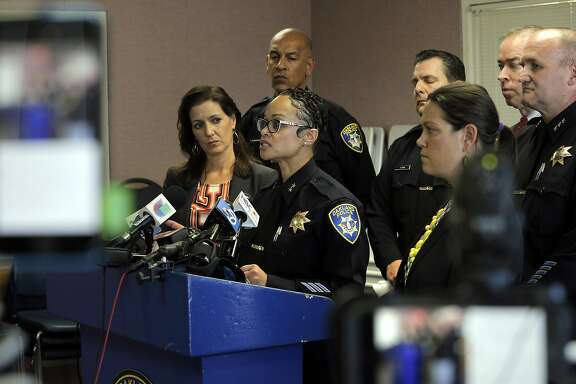 OPD Deputy Chief Danielle Outlaw speaks during a press conference detailing the arrest of an Oakland Police Officer on charges including prostition and obstruction of justice at police headquarters in Oakland, Calif., on Thursday, October 20, 2016.