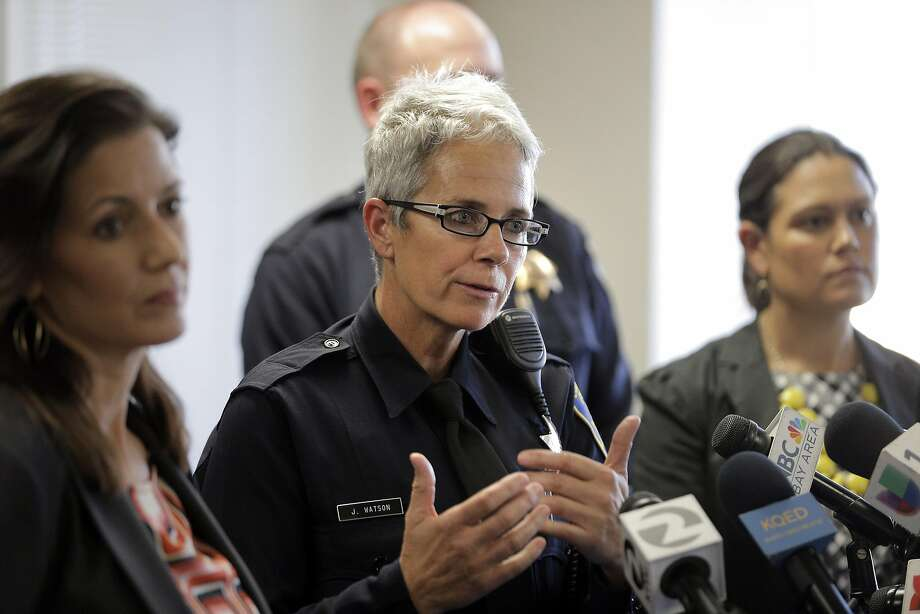 """FILE -- Officer Johnna Watson answers a question during a press conference in Oakland in this Thursday, October 20, 2016 file photo.Officer Johnna Watson said officers from Oakland's traffic division and other specialized units will be posted in various locations """"to deter sideshow participants and anyone who's thinking of observing illegal and dangerous sideshow activity."""" Photo: Carlos Avila Gonzalez, The Chronicle"""