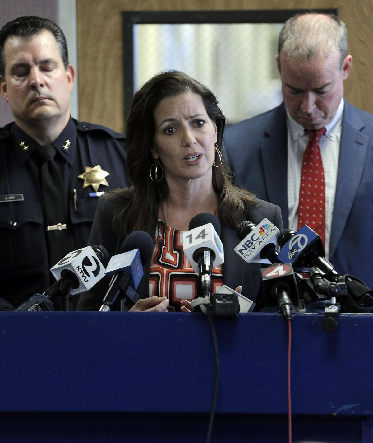 Oakland Mayor Libby Schaaf responds to reporters during a press conference detailing the arrest of an Oakland Police Officer on charges including prostition and obstruction of justice at police headquarters in Oakland, Calif., on Thursday, October 20, 2016.