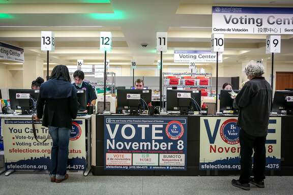 San Francisco residents take advantage of early voting at City Hall on Oct 20, 2016 in San Francisco, Calif.