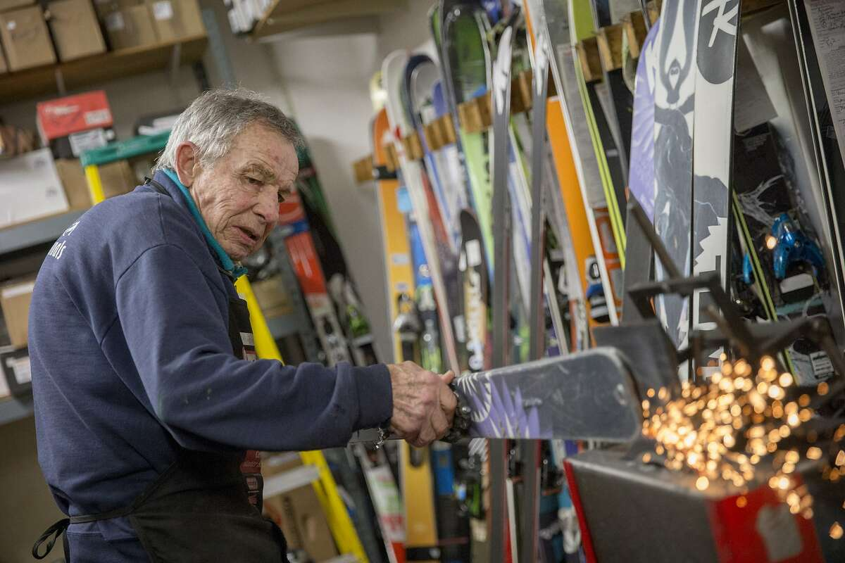 Martin Sulser, the master technician, works on a ski, at the California Ski Company on Thursday, Oct. 20, 2016 in Berkeley, Calif.