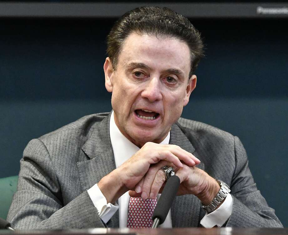 Louisville head men's basketball coach Rick Pitino discusses accusations made by the NCAA against the school — and himself — on Wednesday. Photo: Timothy D. Easley, Associated Press