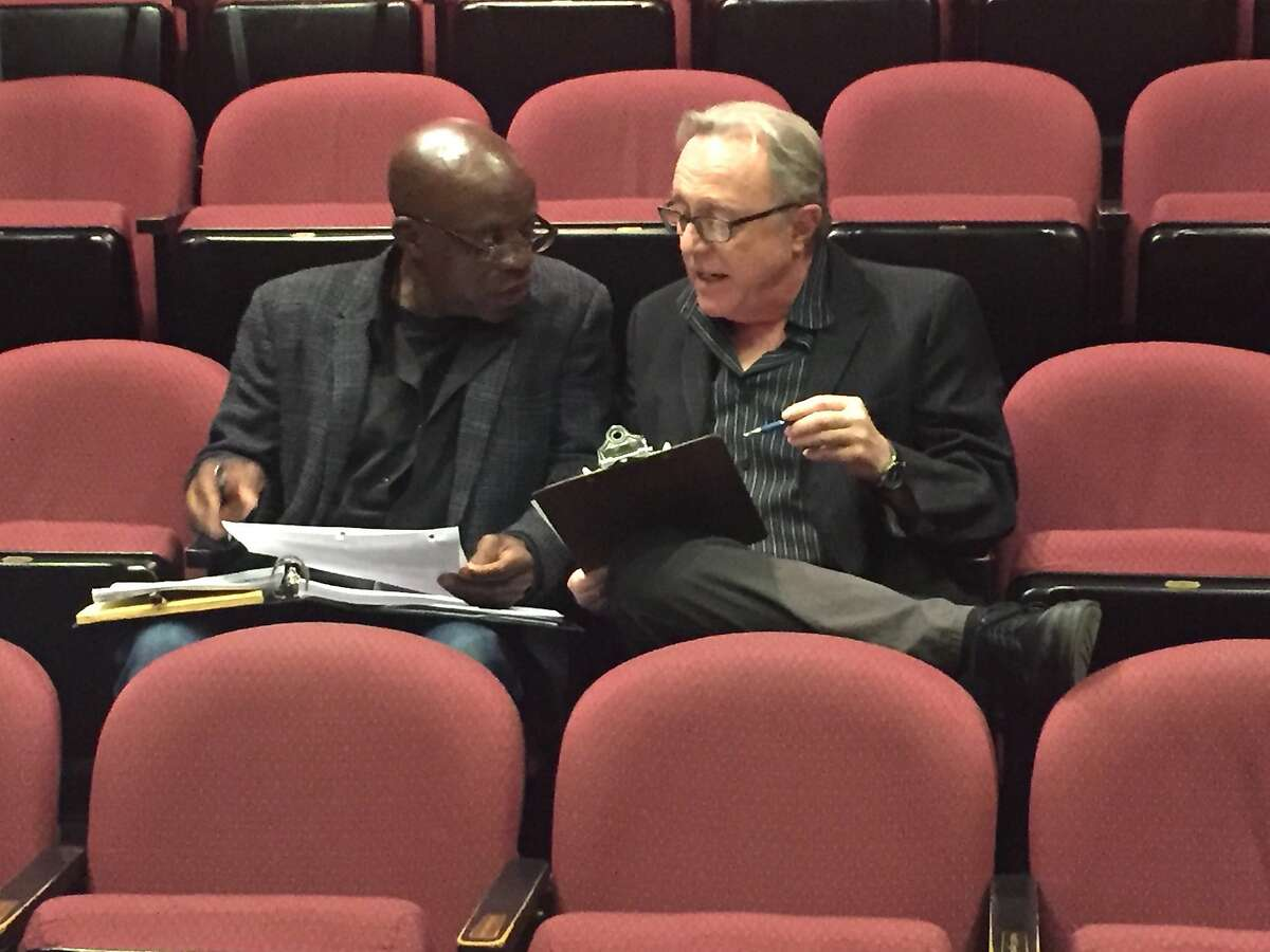 L-R, Safe House director L. Peter Callender and Aurora Artistic Director Tom Ross exchange rehearsal notes. Credit: Courtesy Aurora Theatre Company