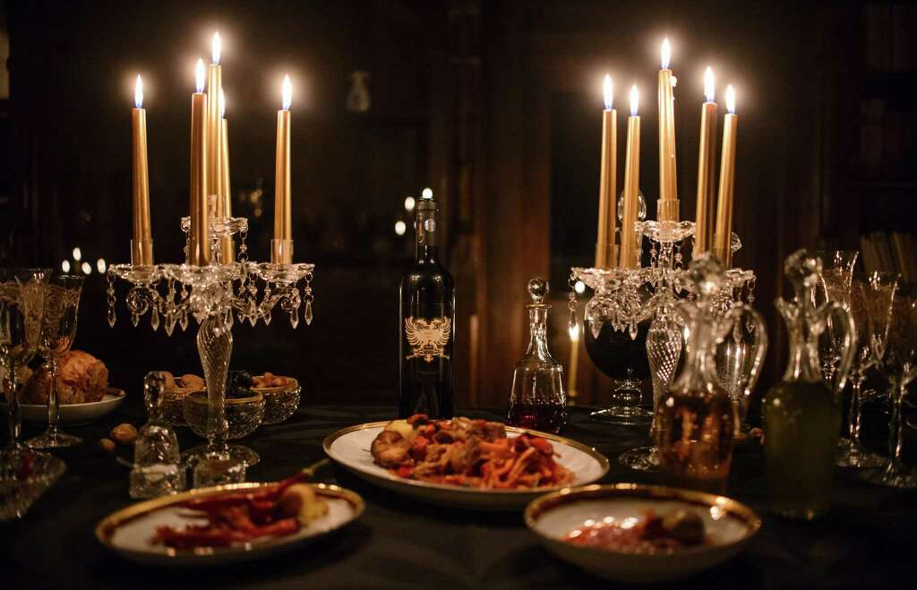 silver table set up halloween treat a night at draculas castle in transylvania san