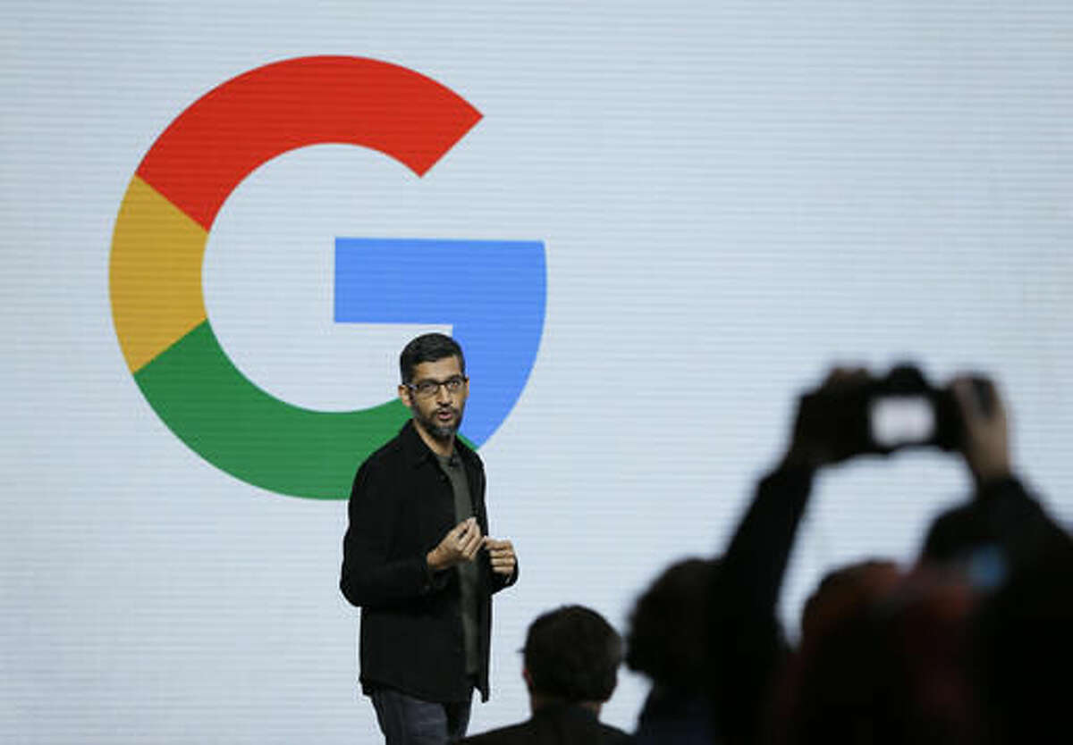 """Google CEO Sundar Pichai speaks during a product event, Tuesday, Oct. 4, 2016, in San Francisco. Google launched an aggressive challenge to Apple and Samsung, introducing its own new line of smartphones called Pixel, which are designed to showcase a digital helper the company calls """"Google Assistant."""" The new phones represent a big, new push by Google to sell its own consumer devices, instead of largely just supplying software for other manufacturers. (AP Photo/Eric Risberg)"""