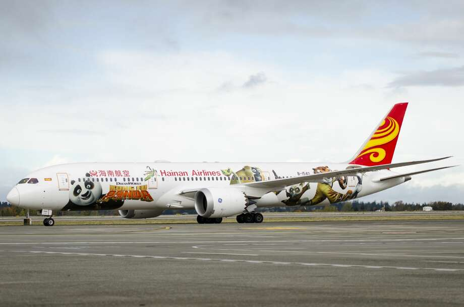 "Almost 100 high school students from Tacoma returned Tuesday from a visit to China aboard a new ""Kung Fu Panda""-themed Boeing 787. It was the first time the plane, one of 14 Boeing 787s that Hainan Airlines flies, had been seen in the U.S. Photo: Courtesy Hainan Airlines"