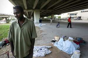 Calvin Walter, who came to Houston a year and a half ago for treatment of a blood disorder, lives under the U.S. 59 overpass in Midtown. The chronically homeless man said he wants a place to call home.