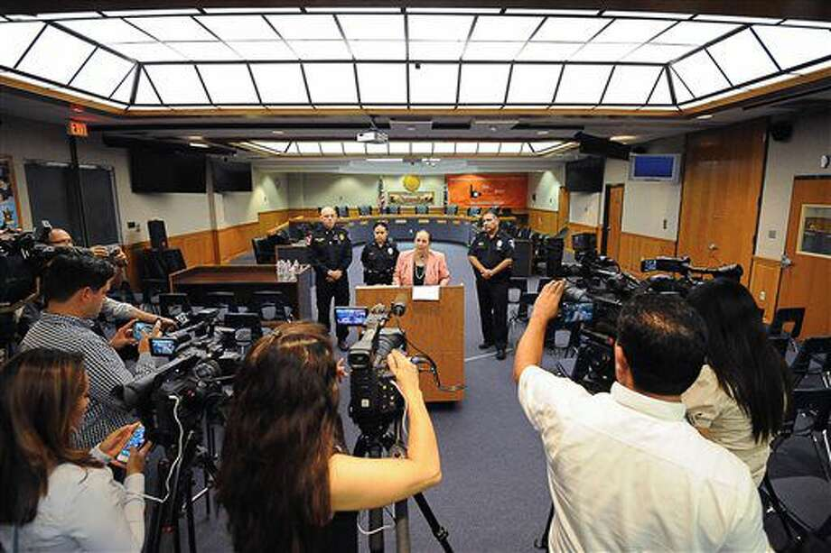 Brownsville Independent School District superintendent Esperanza Zendejas delivers comments Tuesday, Oct. 4, 2016, during a media conference in Brownsville, Texas. Zendejas addressed recent threat-like hoaxes made against local schools, stating that one student has been arrested and an investigation is to proceed to determine if others were involved. (Jason Hoekema/The Brownsville Herald via AP)