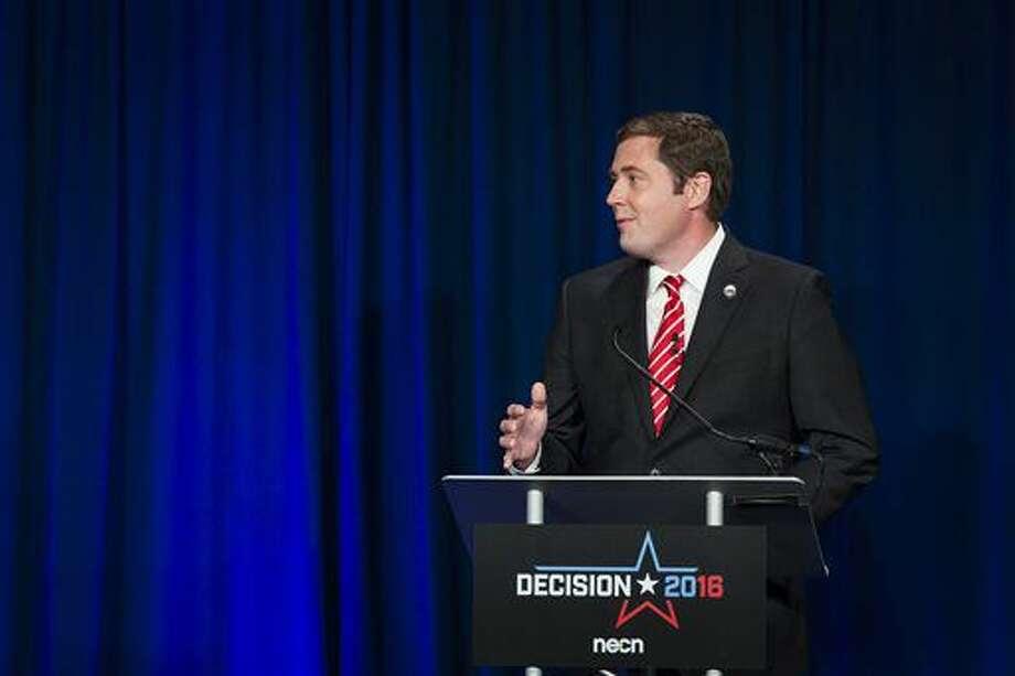 Democratic gubernatorial candidate Colin Van Ostern speaks in a televised debate at New England College in Henniker, N.H., on Wednesday, Oct. 5, 2016. (Elizabeth Frantz/Concord Monitor via AP)
