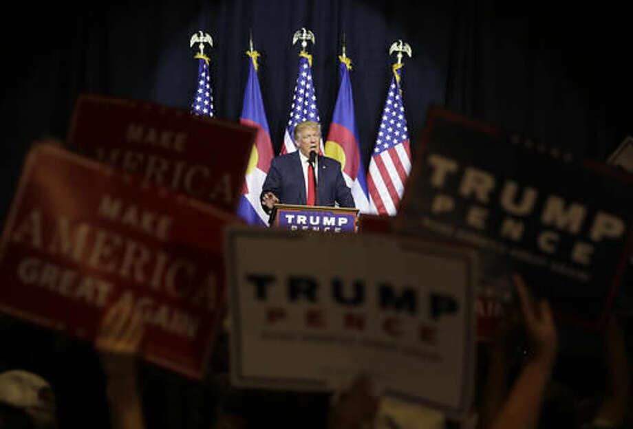 Republican presidential candidate Donald Trump speaks at a rally, Monday, Oct. 3, 2016, in Pueblo, Colo. (AP Photo/John Locher)