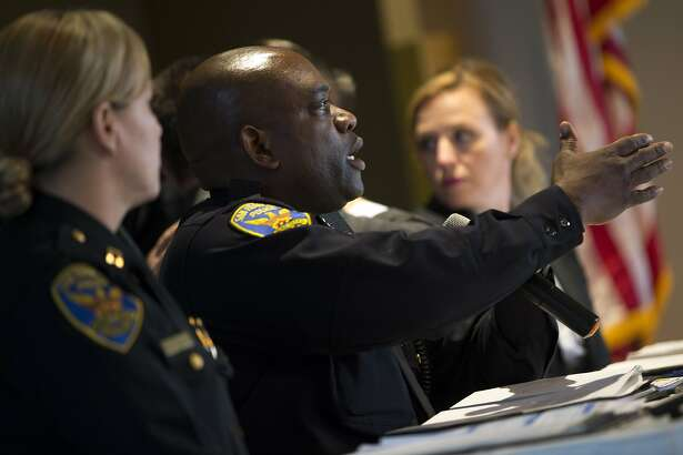 Toney Chaplin, the interim chief of the San Francisco Police Department, calls for the public to comment during a town hall meeting at the San Francisco Scottish Rite Masonic Center on Thursday, Oct. 20, 2016 in San Francisco, Calif. Police officials spoke about the the fatal officer-involved shooting of a man who allegedly shot and critically injured an S.F. police officer on October 14.