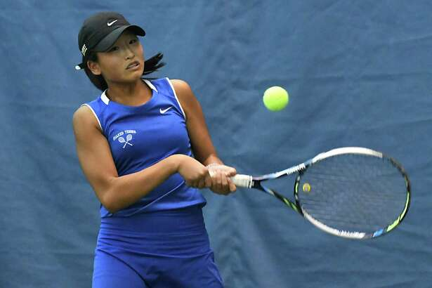 Shaker tennis player Haejin Lee hits the ball in a match against Averill Park's Jackie Bornt in the section II tennis individual championships Thursday, Oct. 20, 2016 in Rotterdam, N.Y. (Lori Van Buren / Times Union)