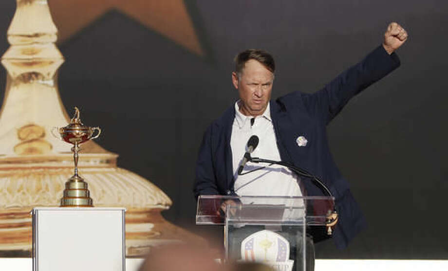 United States captain Davis Love III speaks during the closing ceremony of the Ryder Cup golf tournament Sunday, Oct. 2, 2016, at Hazeltine National Golf Club in Chaska, Minn. (AP Photo/David J. Phillip)