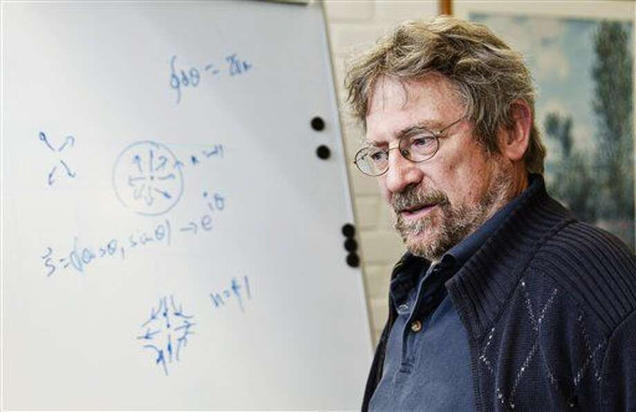 "John Michael Kosterlitz, one of the scientists that has been awarded the Nobel Prize in physics, poses for a photo at Aalto University in Espoo, Finland, Tuesday Oct. 4, 2016. The Royal Swedish Academy of Sciences has cited David Thouless, Duncan Haldane and Michael Kosterlitz for ""theoretical discoveries of topological phase transitions and topological phases of matter."" (Roni Rekomaa/Lehtikuva via AP)"