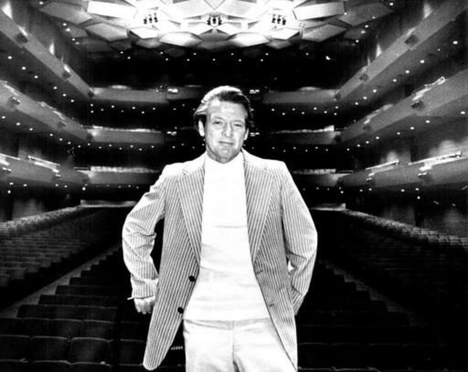 In an Aug. 15, 1978 photo, Neville Marriner, who will direct the Minnesota beginning in 1979, visits the Twin Cities to conduct two performances on at Orchestra Hall. The Academy of St Martin in the Fields orchestra in London said Sunday, Oct. 2, 2016, that its founder, conductor Neville Marriner, has died at 92. (Mike Zerby/Star Tribune via AP)