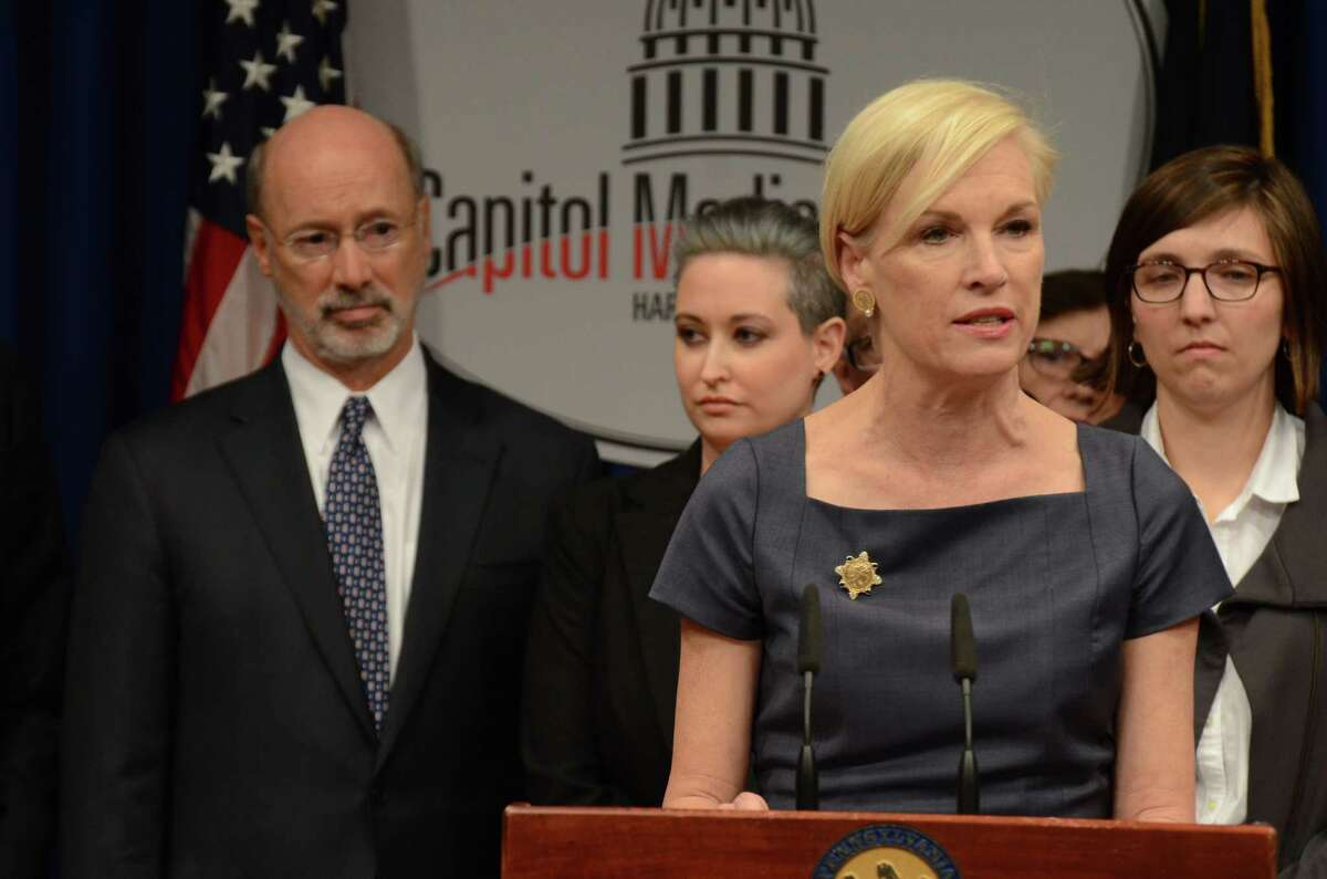 Planned Parenthood president Cecile Richards speaks at a news conference in the Pennsylvania Capitol in opposition to legislation under consideration in the Pennsylvania House of Representatives that opponents say would give Pennsylvania the nation's most restrictive abortion law, Monday, April 11, 2016, in Harrisburg, Pa. Behind Richards are Gov. Tom Wolf, as well as Erica Goldblatt Hyatt, center, and Kelsey Williams, who described their own late-term abortions because of severe or fatal complications.